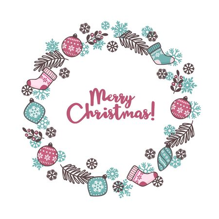 Hand drawn greeting card with Christmas wreath and Merry Christmas calligraphy. Vector illustration in modern style Standard-Bild - 133213260