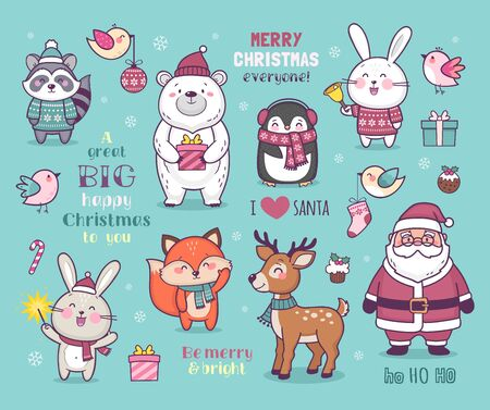 Set of cute cartoon Christmas characters, colorful vector illustration with cute animals and Santa wishing Merry Christmas