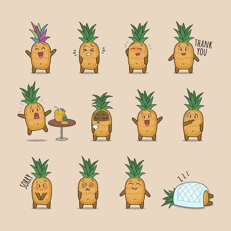 Set of cute pineapple character showing various emotions and actions. Vector funny stickers for online communication, social media, mobile message, chat Standard-Bild - 132679573