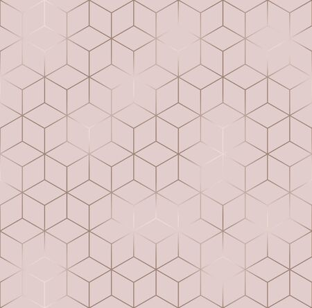 Vector seamless hexagon background. Geometric pattern grid with rose gold lines Standard-Bild - 133213262
