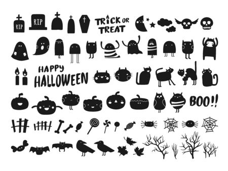 Vector collection of Halloween silhouettes characters and icons. Black Halloween design elements on white background Standard-Bild - 132680156
