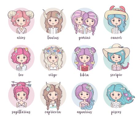 Set of cute zodiac girls. Zodiac signs collection: Sagittarius, Capricorn, Aquarius, Pisces, Leo, Virgo, Libra, Scorpio, Aries, Taurus, Gemini, Cancer. Horoscope illustration