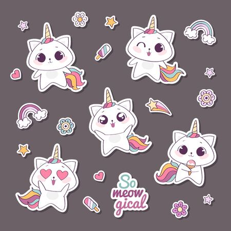 Set of cute vector unicorn cats or caticorns, cute kittens with unicorns horns and tails, so meowgical