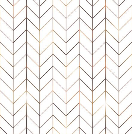 Vector seamless pattern with modern rectangular herringbone tiles. Geometric diagonal texture in white color with golden lines. Vector illustration Ilustracje wektorowe
