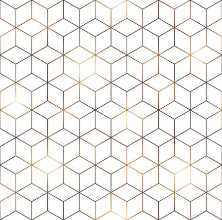 White cube with golden lines seamless pattern. Abstract geometry hexagonal grid background. Vector illustration