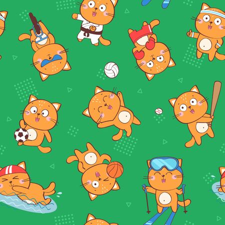 Vector seamless pattern with cute cartoon cat character representing different sports: baseball, football, cycling, swimming, boxing, basketball, volleyball, karate, skiing. Funny cartoon background Ilustracja
