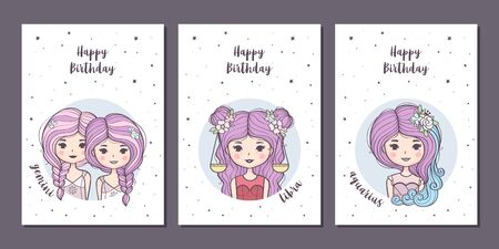 Set of birthday greeting cards design with cute cartoon zodiac girls. Air zodiacal signs: Gemini, Libra, Aquarius. Vector illustration