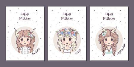Set of birthday greeting cards design with cute cartoon zodiac girls. Earth zodiacal signs: Taurus, Virgo, Capricorn. Vector illustration