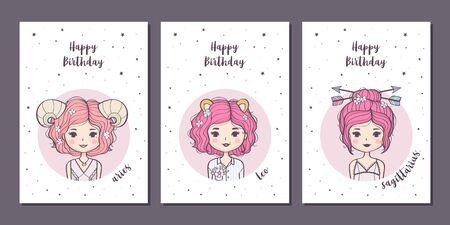 Set of birthday greeting cards design with cute cartoon zodiac girls. Fire zodiacal signs: Aries, Leo, Sagittarius. Vector illustration Illusztráció