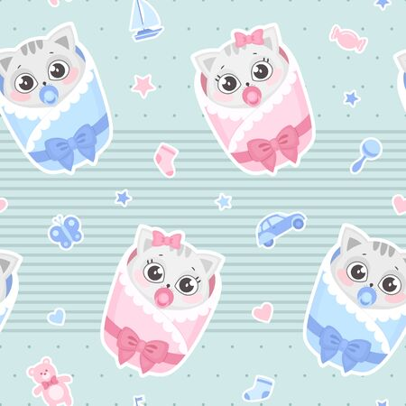 Vector seamless pattern with cute newborn baby cats. Baby shower design