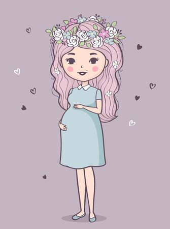 Cute pregnant woman. Vector illustration of young smiling woman waiting for baby. Happy mom expecting baby. Pregnancy Illusztráció