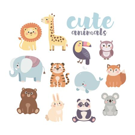 Cute cartoon animals set. Lion, giraffe, owl, elephant, tiger, whale, fox, bear, rabbit, panda, koala, toucan. Vector illustration