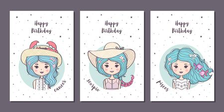 Set of birthday greeting cards design with cute cartoon zodiac girls. Water zodiacal signs: Cancer, Scorpio, Pisces. Vector illustration