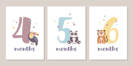 Cute baby month anniversary card with numbers and animals, 1 - 12 months, vector illustration