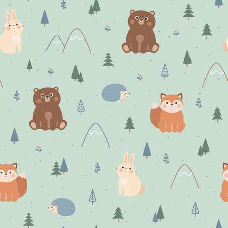 Vector seamless pattern with cute forest animals, fox, bear, rabbit, hedgehog, trees and mountains. Scandinavian style illustration