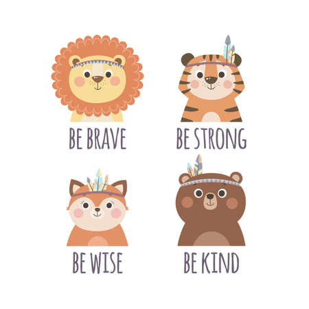 Set of cute stickers with tribal cartoon animals and quotes, vector illustration