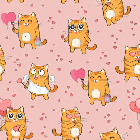 Vector seamless pattern with cute red cat in love, St Valentine's Day funny romantic background