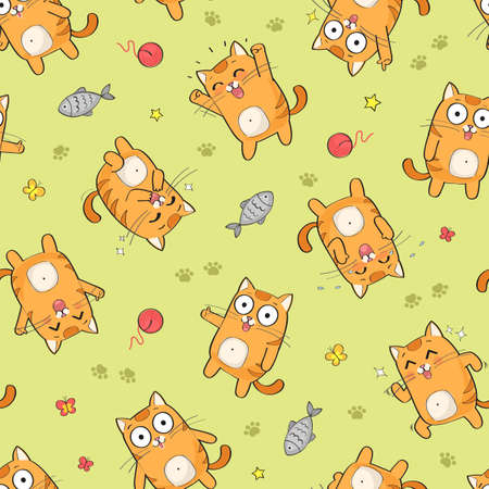 Vector seamless pattern with cute red cat, funny happy cats background Stockfoto - 151143545