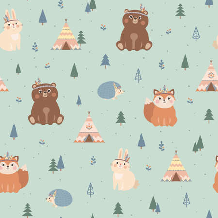 Vector seamless pattern with cute woodland tribal animals, fox, bear, rabbit, hedgehog, trees and wigwam. Scandinavian style illustration Stockfoto - 151143546