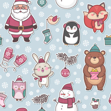 Vector seamless pattern with cute characters for Christmas and New Year celebration, colorful festive background
