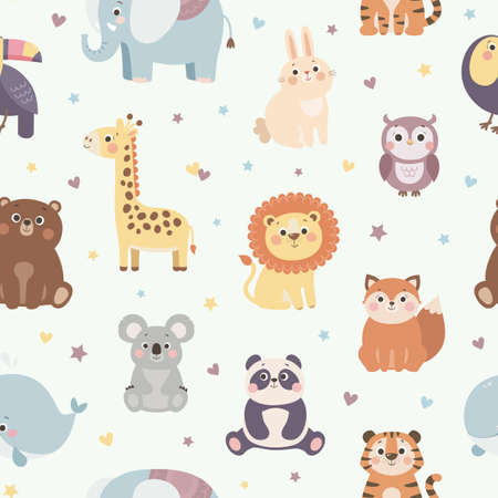 Vector seamless pattern with cute wild animals, colorful kids background