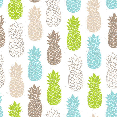 Vector seamless pineapple pattern, summer colorful tropical textile print