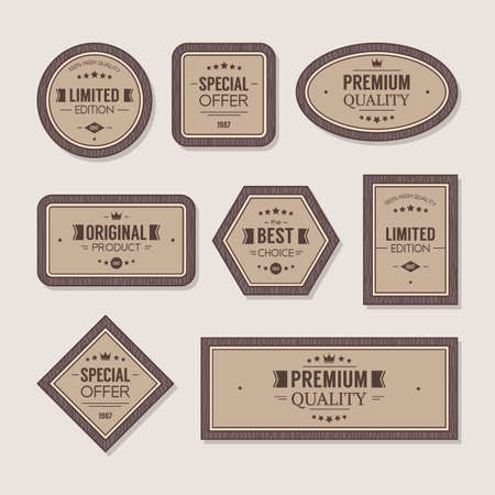 Set of wooden premium quality badges and labels, vector illustration