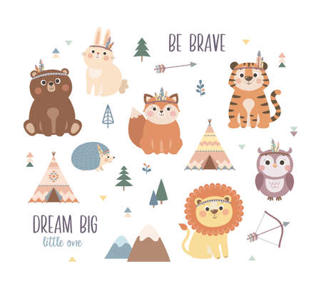 Cute woodland tribal animals set, Scandinavian style vector illustration