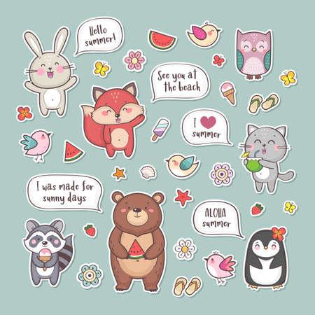 Cute cartoon summer animals set Illusztráció