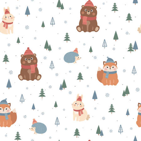 Vector seamless pattern with cute forest animals, fox, bear, rabbit, hedgehog. Scandinavian style illustration, winter Christmas background Illusztráció
