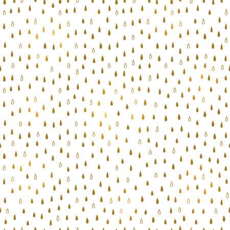 Simple vector seamless rain pattern in gold, Scandinavian style illustration