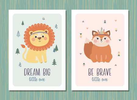 Set of creative cards templates with tribal cartoon animals and quote, vector illustration