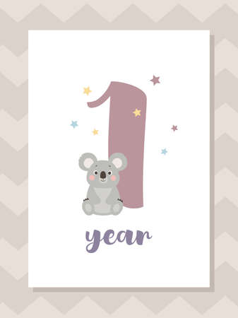 Cute baby month anniversary card with koala, one year, vector illustration