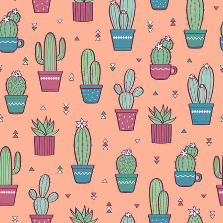 Cute seamless pattern with various hand-drawn cactus in flowerpots. Vector colorful background Illusztráció