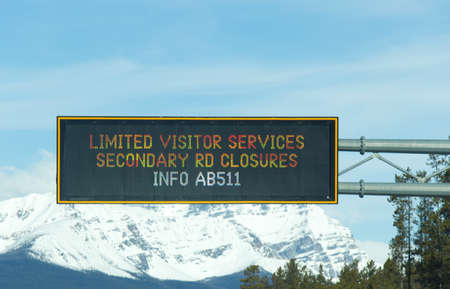 Alberta, Canada - April 20,2020: View of information board on Trans-Canada Highway