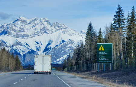 Avalanche Area sign on Trans-Canada Highway in British Columbia near Kamloops.
