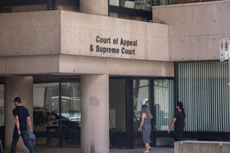 Vancouver, Canada - July 13,2020: Sign of Court of Appeal and Supreme Court in Downtown Vancouver