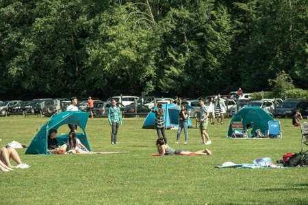 Belcarra, Canada - July 13,2020: Belcarra Regional Park full of people at sunny day