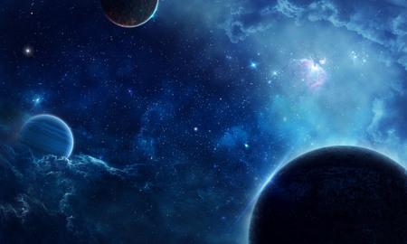 Blue space and planets Фото со стока