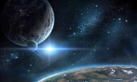 Planets in space and stars