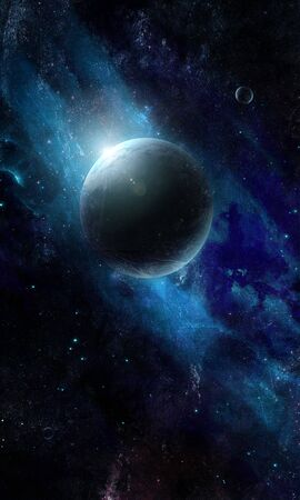abstract luminous planet in space, illustration