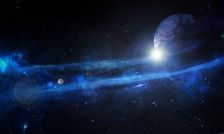 Blue abstract nebula and planet in space