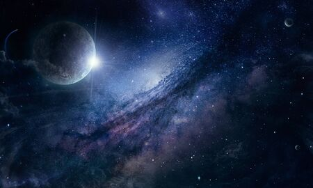 planet and nebula in space