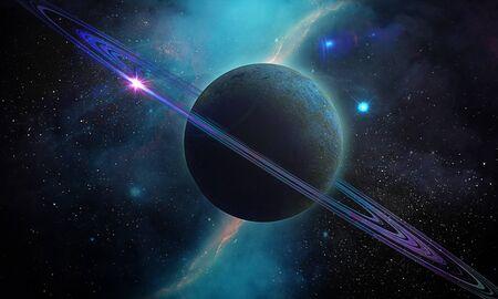 Ilustración del espacio abstracto, imagen 3D, cielo azul y placenta de Saturno en el resplandor de las estrellas
