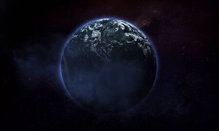 abstract space illustration, 3d image, planet in space with clouds and nebula Foto de archivo