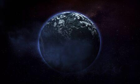 illustration abstraite de l'espace, image 3d, planète dans l'espace avec nuages et nébuleuse Banque d'images