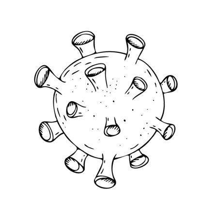 vector isolated element, black and white coronavirus virus without background, hand-drawn in doodle style