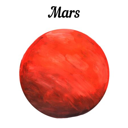 freehand drawing of the planet Mars with living materials, red planet on a white background