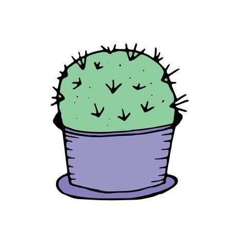 color vector isolated element in doodle style, houseplant - cactus in a pot