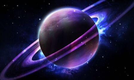 abstract space illustration, 3d image, 3d rendering, background image, bright abstract planet with rings in the cosmic starry sky